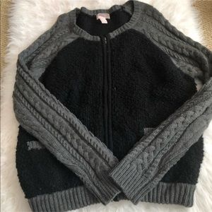 NWOT L Large forever 21 knitted jacket gray black